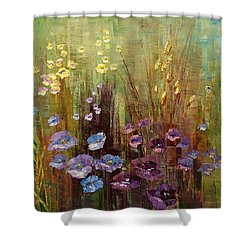 Shower Curtain featuring the painting Vine Wrapt Bower by Tatiana Iliina