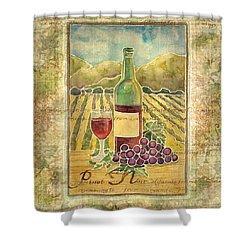 Vineyard Pinot Noir Grapes N Wine - Batik Style Shower Curtain by Audrey Jeanne Roberts