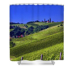 Vineyards Of Jerusalem Slovenia Shower Curtain by Graham Hawcroft pixsellpix