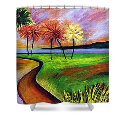 Vinoy Park In Purple Shower Curtain by Elizabeth Fontaine-Barr