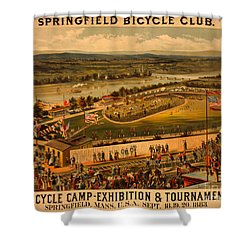 Shower Curtain featuring the photograph Vintage 1883 Springfield Bicycle Club Poster by John Stephens