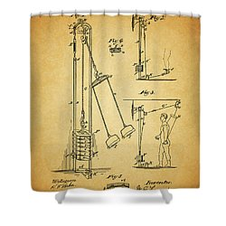 Vintage 1885 Exercising Device Patent Shower Curtain by Dan Sproul
