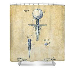 Vintage 1899 Golf Tee Patent Artwork Shower Curtain by Nikki Marie Smith
