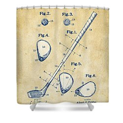 Vintage 1910 Golf Club Patent Artwork Shower Curtain by Nikki Marie Smith