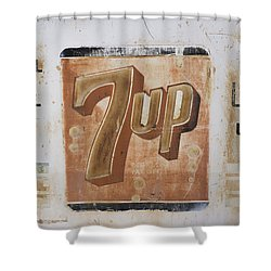 Shower Curtain featuring the photograph Vintage 7 Up Sign by Christina Lihani