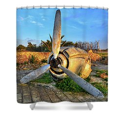 Vintage Airplane Propeller At Sunrise Shower Curtain by Stephan Grixti