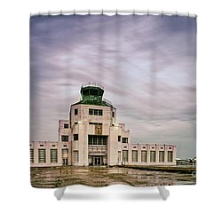 Vintage Architectural Photograph Of The 1940 Air Terminual Museum - Hobby Airport Houston Texas Shower Curtain