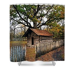 Shower Curtain featuring the photograph Vintage Arkansas Out Building by Marty Koch