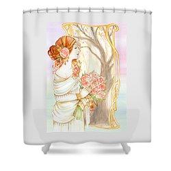 Vintage Art Nouveau Flower Lady Shower Curtain