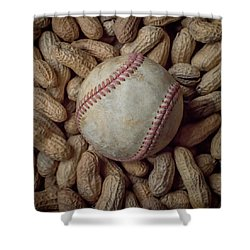 Vintage Baseball And Peanuts Square Shower Curtain