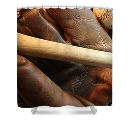 Vintage Baseball Shower Curtain by Pat Cook