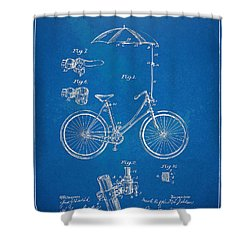 Vintage Bicycle Parasol Patent Artwork 1896 Shower Curtain by Nikki Marie Smith