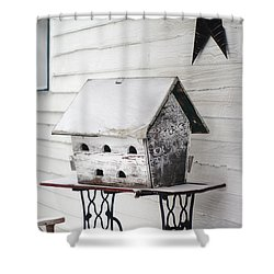 Vintage Martin Birdhouse In The Snow Shower Curtain