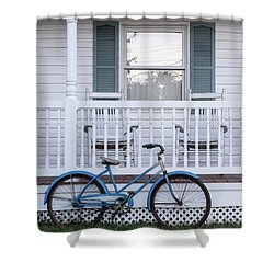 Vintage Blue Bicycle Square Shower Curtain