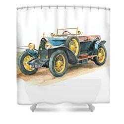 Vintage Blue Bugatti Classic Car Shower Curtain