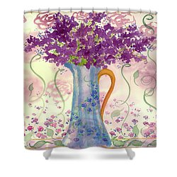Shower Curtain featuring the painting Vintage Blue Flower Bouquet by Cathie Richardson