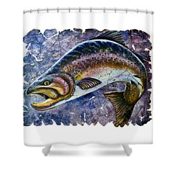 Vintage Blue Trout Fresco  Shower Curtain