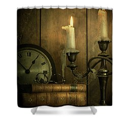 Vintage Books With Candles And An Old Clock Shower Curtain