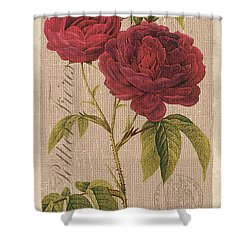 Vintage Burlap Floral 3 Shower Curtain