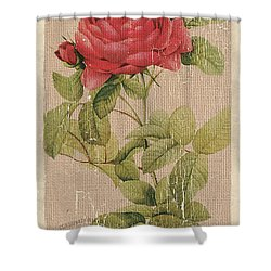 Vintage Burlap Floral Shower Curtain