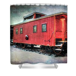 Shower Curtain featuring the photograph Vintage Caboose - Winter Train by Joann Vitali