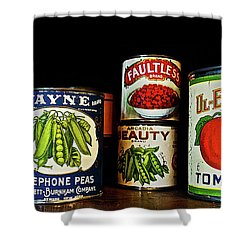 Vintage Canned Vegetables Shower Curtain by Joan Reese