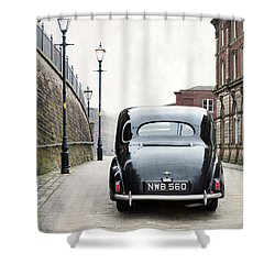 Vintage Car On A Cobbled Street Shower Curtain
