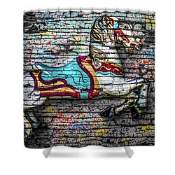 Vintage Carousel Horse Shower Curtain