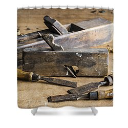 Shower Curtain featuring the photograph Vintage Carpentry Bench by Trevor Chriss