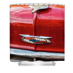 Shower Curtain featuring the photograph Vintage Chevy Hood Ornament Havana Cuba by Charles Harden