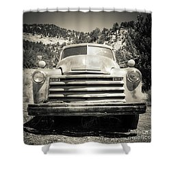 Vintage Chevy Pickup Truck Outside Of Zion Shower Curtain