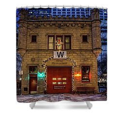 Vintage Chicago Firehouse With Xmas Lights And W Flag Shower Curtain