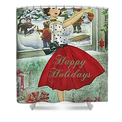 Shower Curtain featuring the digital art Vintage Christmas Card by Greg Sharpe