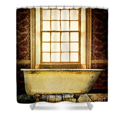 Vintage Clawfoot Bathtub By Window Shower Curtain