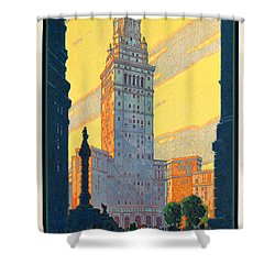 Vintage Cleveland Travel Poster Shower Curtain by George Pedro