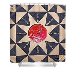 Shower Curtain featuring the photograph Vintage Columbia Records Graphic Design by Edward Fielding