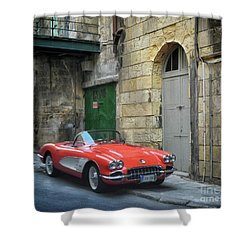 Vintage Corvette In Valletta Shower Curtain by Stephan Grixti