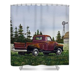 Shower Curtain featuring the painting Vintage Country Pickup by James Williamson