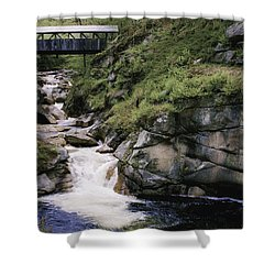 Vintage Covered Bridge And Waterfall Shower Curtain