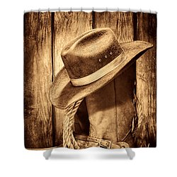 Vintage Cowboy Boots Shower Curtain by American West Legend By Olivier Le Queinec