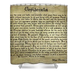 Vintage Desiderata Shower Curtain by Teresa Zieba