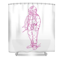 Shower Curtain featuring the digital art Vintage Diver by Edward Fielding
