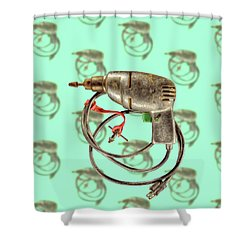 Vintage Drill Motor Green Trigger Pattern Shower Curtain by YoPedro