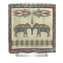 Shower Curtain featuring the painting Vintage Elephants Kashmir Paisley Shawl Pattern Artwork by Audrey Jeanne Roberts