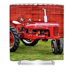 Vintage Farmall Tractor With Barnwood Shower Curtain