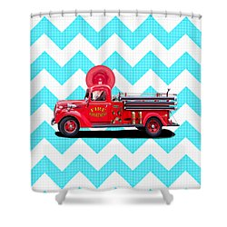 Shower Curtain featuring the mixed media Vintage Fire Truck by Mark Tisdale