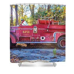 Shower Curtain featuring the photograph Vintage Fire Truck South Weare New Hampshire by Edward Fielding