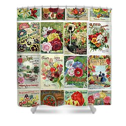 Vintage Flower Seed Packets 1 Shower Curtain by Peggy Collins