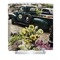 Vintage Flower Truck-nantucket Shower Curtain by Tammy Wetzel