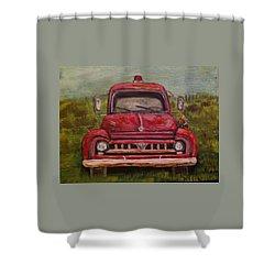 Vintage  Ford Fire Truck Shower Curtain by Belinda Lawson